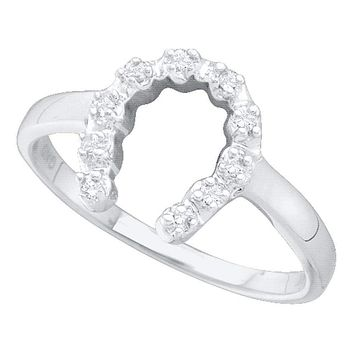 10kt White Gold Women's Round Diamond Simple Lucky Horseshoe Ring 1/20 Cttw - FREE Shipping (US/CAN)