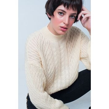 69374e5810e626 Yellow Cable Knitted Sweater With Round Neck