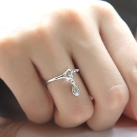 New Arrival Shiny Gift Jewelry Water Droplets Stylish Ring [11045458324]