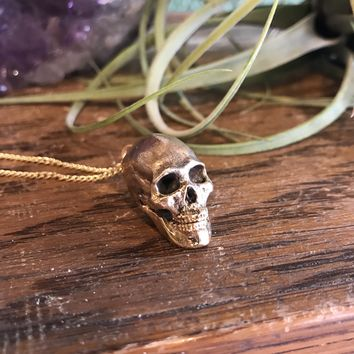 Yellow Bronze Cast Human Skull Pendant