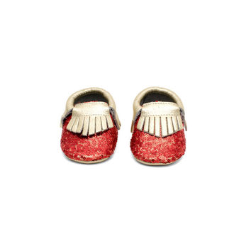 GLA Sequin Leather Baby Moccasins Red