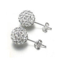 Elegant Crystal Disco Ball Ear Stud Earrings