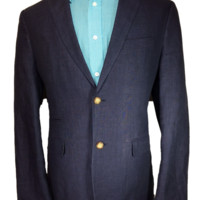 Alan Flusser Two Button Sport Coat Blue Tweed Linen - 40R