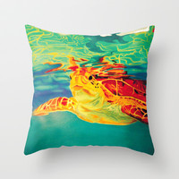 Turtle Surface Throw Pillow by Bocese