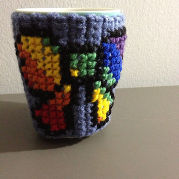 Cute Bow Rainbow Retro Hipster Mug Cozy - My Little Pony Inspired Ribbon Cup Cozy - Tea Kitchen Accessory - Retro Collector Item