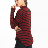 striped mock neck shirttail hem sweater
