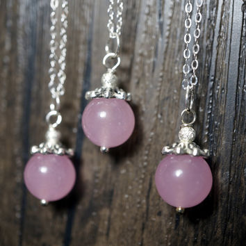 Bridesmaid Necklace Set - Bridemaid Gift - Wedding Jewelry - Pink Chalcedony Jewelry, Tiny Pink Chalcedony Necklace,  Bridesmaid Jewelry