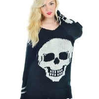 Skull Print Oversized Sweater