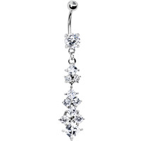 Crystalline Gem Diamond Shape Drop Belly Ring | Body Candy Body Jewelry