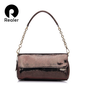REALER brand fashion women crocodile pattern shoulder bag high quality embossed messenger bag women leather crossbody Bag