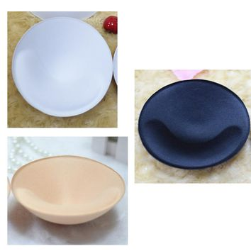 1set women high quality round thick Sponge Bra Pad Removable Insert Breast Bikini Enhancers Intimate Accessorories
