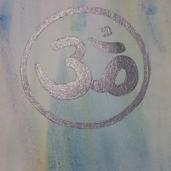 Watercolor and Acrylic Glitter Om Painting, Buddhism Painting, Meditation and Yoga Art