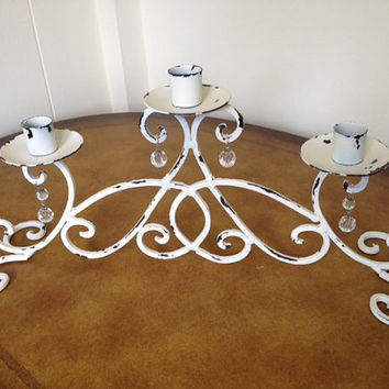 Shabby chic candle opera, candlelabra, ivory, metal