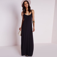 Strappy Backless A-Line Maxi Dress