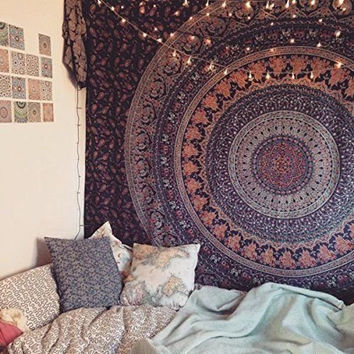 "Indian Mandala Tapestry Wall Hanging Throw Bedspread Dorm Tapestry Decorative Wall Hanging,Picnic Beach Sheet Coverlet,Size60""X90"" & 90""X90"""