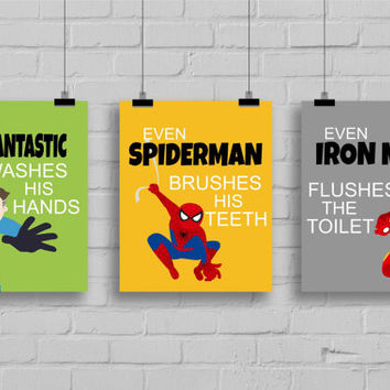 "Superhero Bathroom Decor - ""Even Spiderman Brushes His Teeth"" Comic Book Print, Pop Art Print -Batman-Spiderman, Set of 3 Prints"