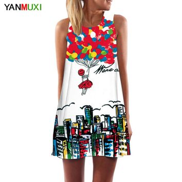 2017 New Style Summer Dress Sleeveless Balloons Print Robe Casual Women Dress Vestidos Mini Women Short Beach Dresses
