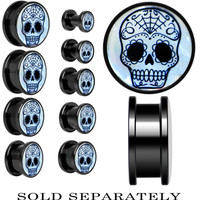 Sugar Skull Mother of Pearl Screw Fit Plug in Anodized Black Titanium   Body Candy Body Jewelry