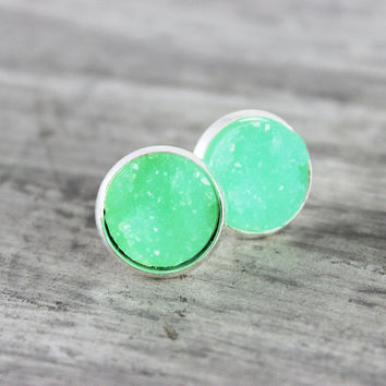 Green Stud Earrings, Light Green Earrings, Silver Stud Earrings, Resin Cabochon Earrings, Faux Druzy Earrings, Druzy Studs, Small Stud