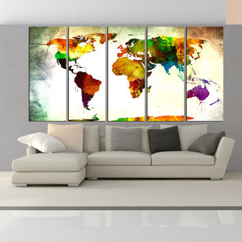 watercolor world map wall art canvas print, extra large wall art, world map wall decal, Abstract wall art large home decor No:6S39
