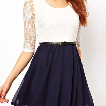 Cadetblue and White Lace Design Asymmetrical Dress