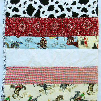 Western cowboy quilt or blanket - 35x40 boy baby crib quilt - Homemade quilts for babies
