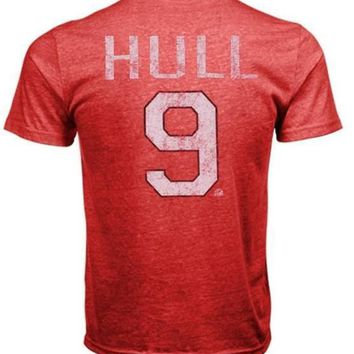 Old Time Hockey Bobby Hull Chicago Blackhawks Alumni Player Vintage Heathered T-Shirt - Red