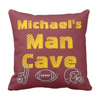 Man Cave Football Sports Team Personalized Throw Pillow