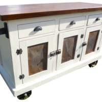 Custom Industrial Farmhouse Antique White Kitchen Island Cart