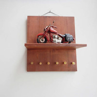 Red bike keyhanger, wall key organiser of varnish painted wood with a red, collectible motorbike miniature and 6 key hangers, mens gift