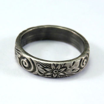 Sterling Silver 925 Patterned (Spirals, Swirls and Flowers) Ring. Shinny OR Antiqued / Oxidized Finish Childrens Womens Mens Pick Your Size!