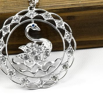 Vintage Swan Necklace - Vintage Sarah Coventry Necklace - Vintage  Necklace - Silvertone Necklace - Gift for her - Silvertone