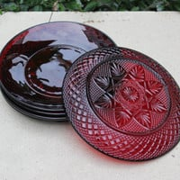 Ruby red Depression glass desert or salad plates (Set of 6)
