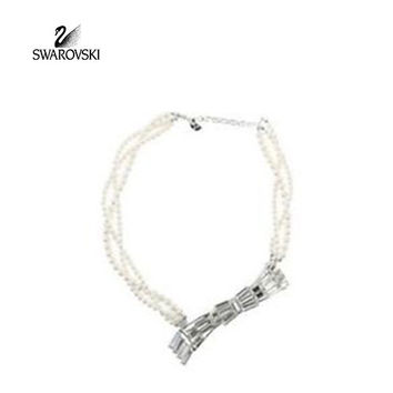 Swarovski  Clear Crystal NACRE Necklace Bow Pearl Collar #1085140