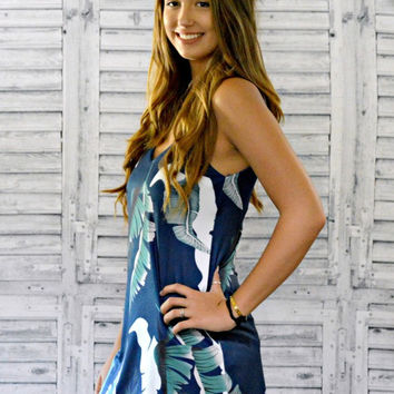 Tropical Palm Navy Tank Top