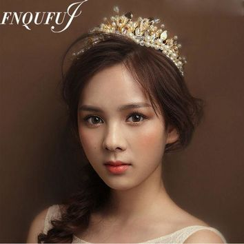 ICIKF4S Baroque Crown Wedding Hair Accessories Tiaras And Crowns Crystal Bridal Head Jewelry Mariage Ornament