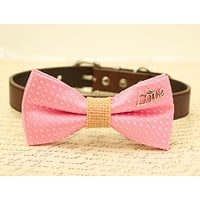 Pink Dog Bow Tie attached to brown collar, Bow with charm, Burlap, Love