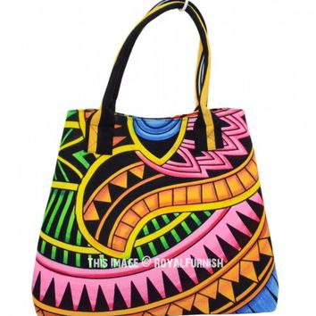 Colorful Psychedelic Boho Beach Tote Bag on RoyalFurnish.com