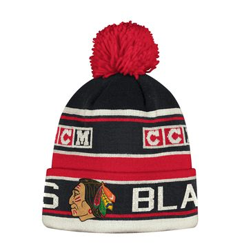 Men's Chicago Blackhawks CCM Cuffed Pom Knit