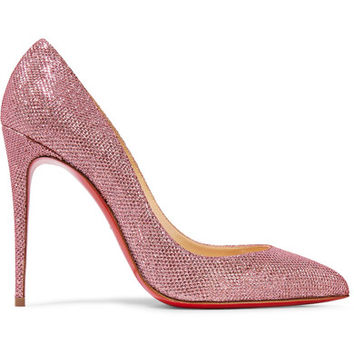 Christian Louboutin - Pigalle Follies 100 glittered canvas pumps