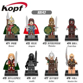 50Pcs X0142 Super Heroes Lord of the Rings Eomer Aragorn Theoden Archer Mordor Orc Eowyn Wraith Building Blocks Toys for Kids
