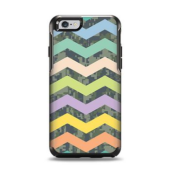 The Vibrant Colored Chevron With Digital Camo Background Apple iPhone 6 Otterbox Symmetry Case Skin Set