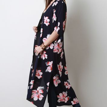 Textured Floral Open Front Longline Kimono