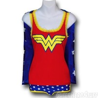 Wonder Woman Juniors Caped Sleep Tank & Bottoms