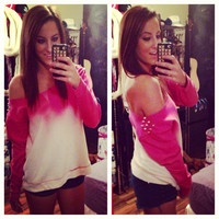 Studded Dip Dyed Ombré Pink Off the Shoulder Sweatshirt Sz. Large