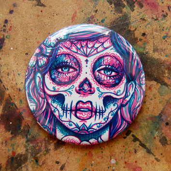 Pop Art Sugar Skull Girl Womens Accessory Hand Mirror Compact Colorful Lowbrow Tattoo Art Day of the Dead Girl 2.25 inch Pocket Mirror