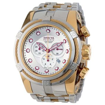 Invicta 14068 Mens Bolt Reserve Silver Dial Chronograph Two Tone Steel Dive Watch