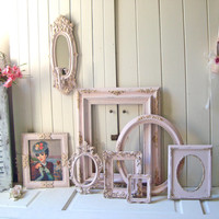 Pink and Gold Ornate Vintage Frames, Baby Pink Open Ornate Picture Frames, Vintage Wall Sconce, Oval Ornate  Shabby Chic Nursery Frame Set