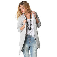 GRAY LONGLINE CABLE CARDIGAN