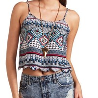 SCALLOPED TRIBAL PRINT CROP TOP